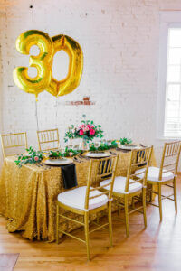 30th birthday party decorations in gold